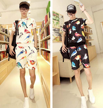 New Men's Funny Multi Color Birds Print Slim Fit Crewneck Short Sleeve T Shirt Shorts Set