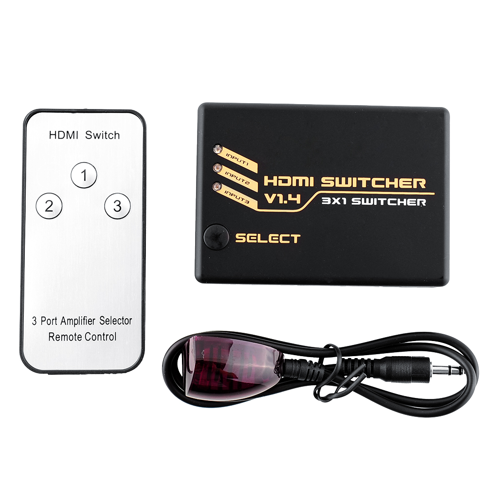 3-Port HDMI V1.4 3x1 HD 1080p Amplified Splitter Switch Switcher Hub Box Selector iR Remote Receiver Cable(China (Mainland))