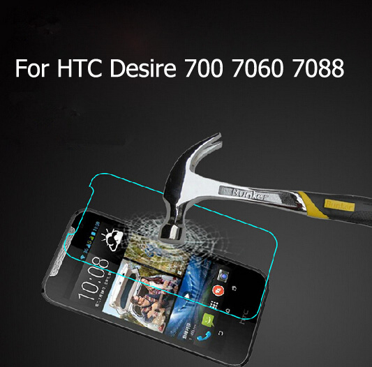 9H Premium Tempered Glass Screen Cell Phone Protector Film For HTC Desire 700 7060 7088(China (Mainland))