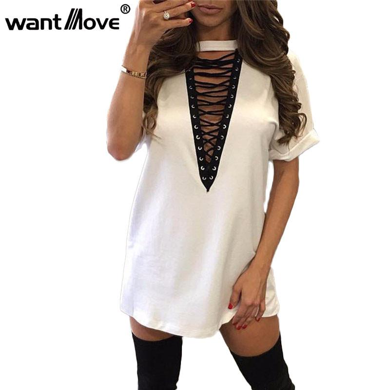 11 colors 2017 summer women t shirt mini tie-up dress black white bodycon sexy club tshirt tops tee plus size vestidos de festa(China (Mainland))