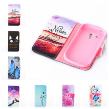 Wallet Painted Book Stand Flip Leather Case Samsung Galaxy S3 Mini i8190 Card Wolf Rose Owl Effiel Tower case Cover - Nelo Trading Co., Ltd. store