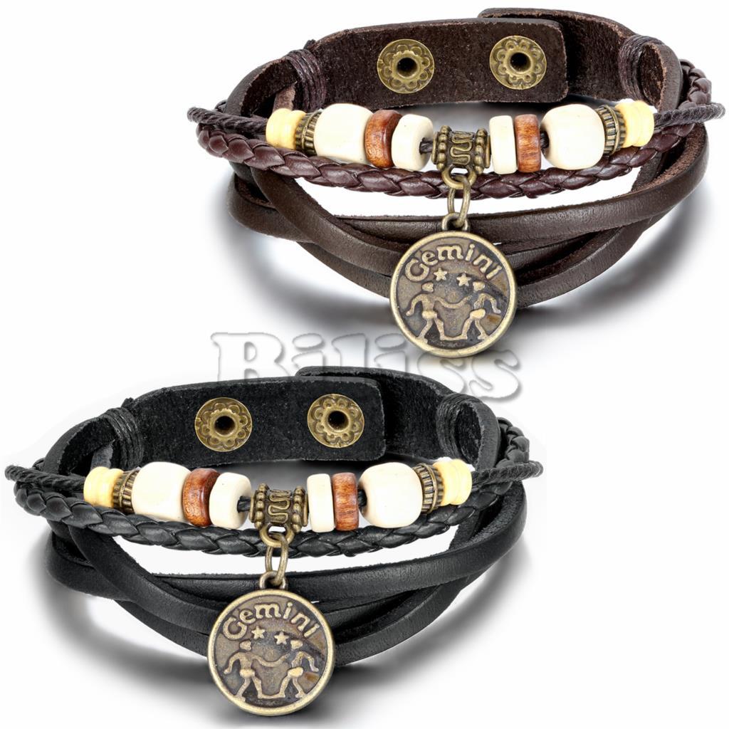2015 Vintage Multilayer Braided Constellation Gemini Charm Bracelets Bohemia Wood Beads Cuff Leather Bracelet For Women Men(China (Mainland))