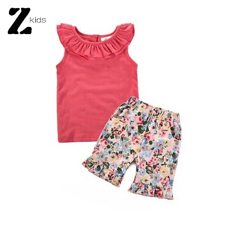 Baby Girls Clothes Set 2015 Summer Fashion Children T Shirts + Floral Shorts 2-8 Years Kids Brand Name Clothing Roupas Bebes(China (Mainland))