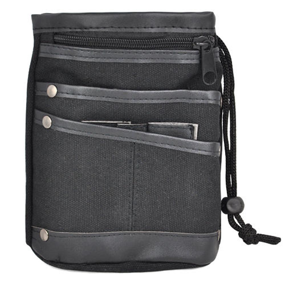 Casual Canvas Waist Bag Multi Pocket Fanny Pack Purse Wallets - Black(China (Mainland))