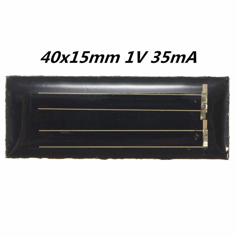 Hot Sale 1V 35mA Solar Panels Polycrystalline Silicon Mini Solar Power Cells PV DIY Battery Power Charge Module Kits 40x15mm(China (Mainland))