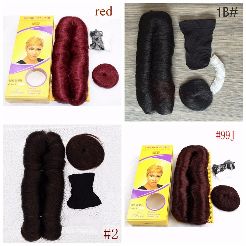 Natural Black 27 Pieces Human Hair Virgin Indian Hair With Free Black Cap Short Human Hair Weave Extensions 4 Inches 2pcs/lot