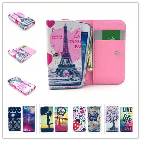 Fashion Dirt-resistant Painting Leather Phone Cases For HTC HD2 T8585 Wallet Style With Card Slot Back Cover Case(China (Mainland))