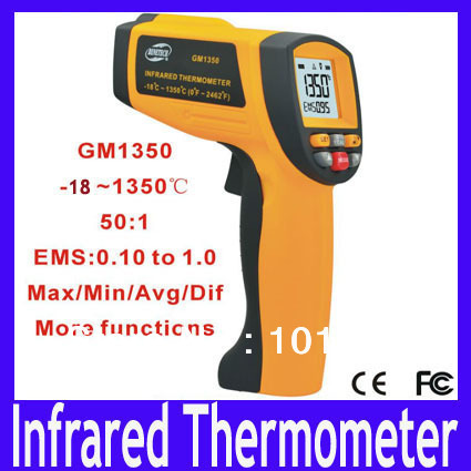 Free shipping GM1350 Non-contact IR Infrared Digital Thermometer - Measurement Range: -18 C-1350 C,MOQ=1