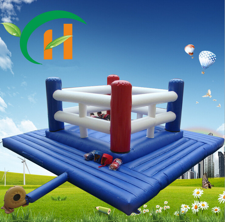 Boxing Ring Blue Nylon 0.55mm anime cartoon inflatable castle jump bed trampoline kids Indoor and outdoor toy 3m*3m/Piece(China (Mainland))