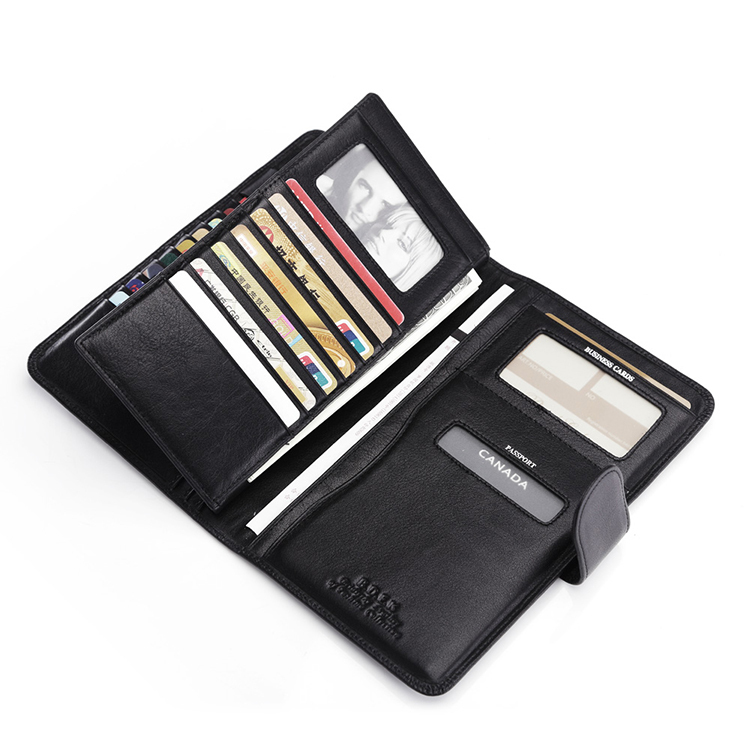 Free Shipping Multi-card Slot Passport Ens Business Genuine Leather Passport Document Screens ID Card Package Black K841(China (Mainland))