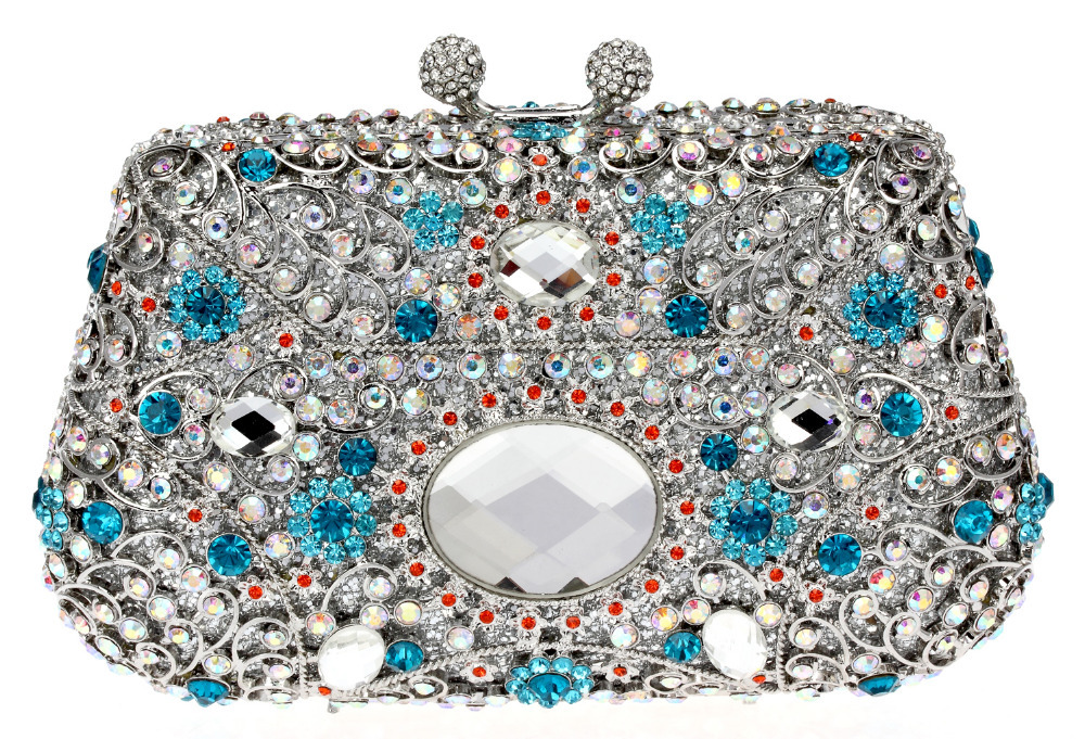 Bohemian Style Hot Selling New Design Deluxe Oval Shape Ladies Evening Party Clutches Full Crystals Metal Women Blue Color(China (Mainland))