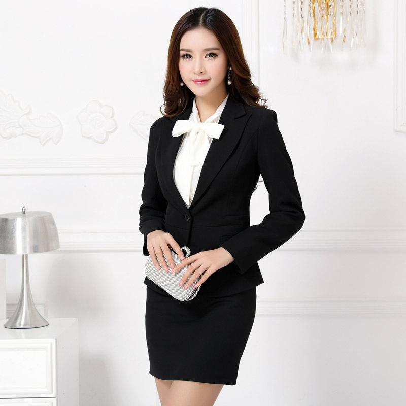 Model Aliexpresscom  Buy Formal Black Blazer Women Skirt Suits Work Wear