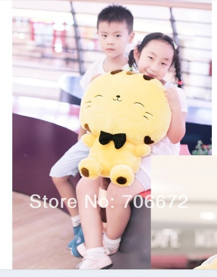 stuffed animal lucky cat tie soft hello kitty yellow plush toy 50cm about 19 inch doll wt6858(China (Mainland))
