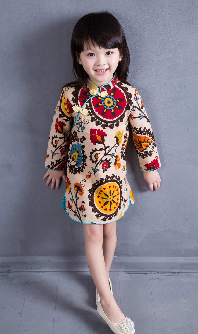 2 8T Cotton Girl Dress Trendy Kids Baby Girls Long Sleeve ...