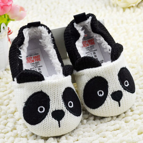 Infant Toddler Boys Girls Baby Shoes Panda Knit Shoes Slip-On Soft Fleece Crib Shoes First Walkers(China (Mainland))