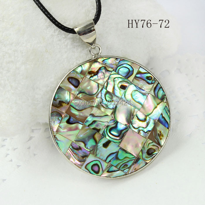 1pcs 76-72 Fashion Jewelry Natural New Zealand Abalone Shell Pendant round shape 40mm silver-plated(China (Mainland))