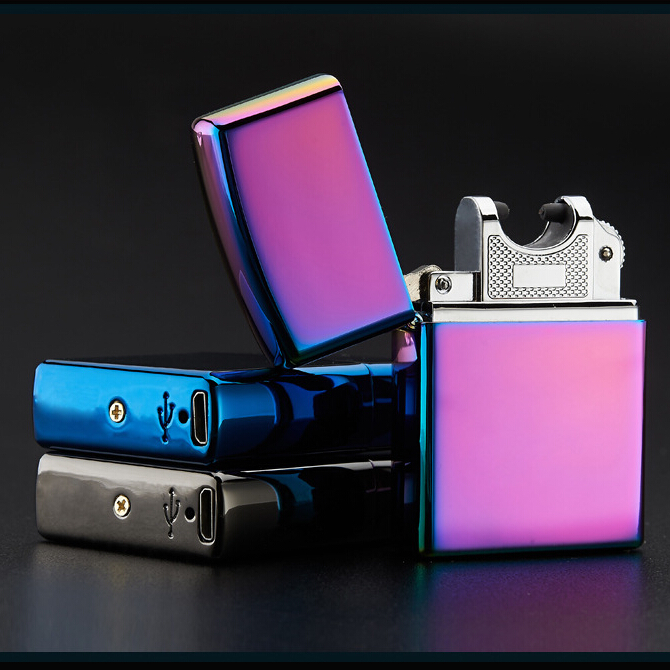 Electronic Cigarette lighter Windproof ultra-thin Metal pulse USB Rechargeable Flameless Electric Arc Cigar Cigarette Lighter(China (Mainland))