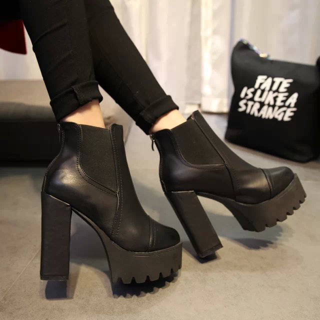 2015 new autumn and winter ankle boots Short boots thick with High heels Waterproof platform leather shoes Women's leather boots