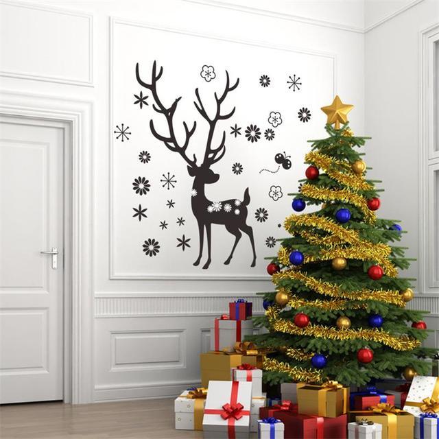 Олень цветок снежинка стикер стены рождество домашнего декора xmas43 Chirstmas ну вечеринку окна украшения магазин склад
