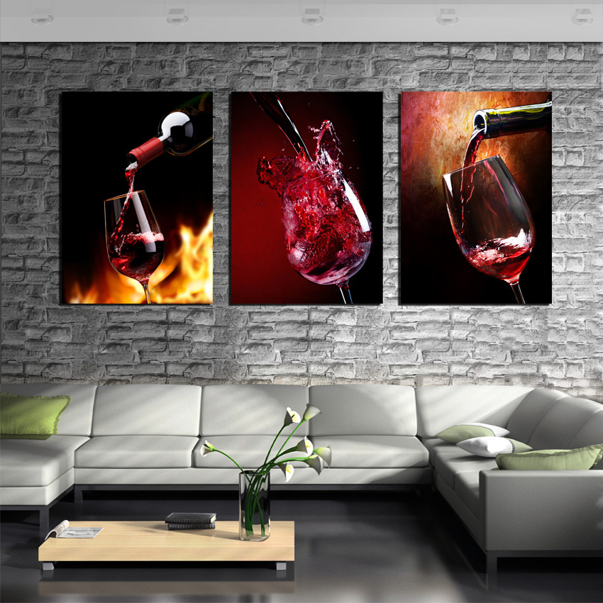 product Modern Paintings 3 Piece Red Wine Cup Bottle Wall Art Canvas Set Bar Wall Decoration Gallery Wrapped Oil Pictures Prints
