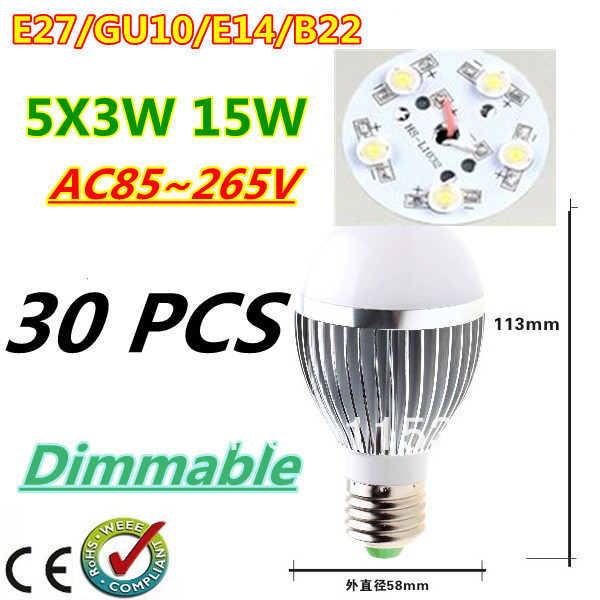 30pcs/lot Retail Dimmable Bubble Ball Bulb AC85-265V 15W E14 E27 B22 GU10 High power Globe light LED Light Free DHL and FEDEX