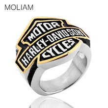 MOLIAM 2016 Famous Brand Men Rings Large Size 8-15 Silver Stainless Steel Motor Cycles Biker Ring Punk Jewelry BR025(China (Mainland))