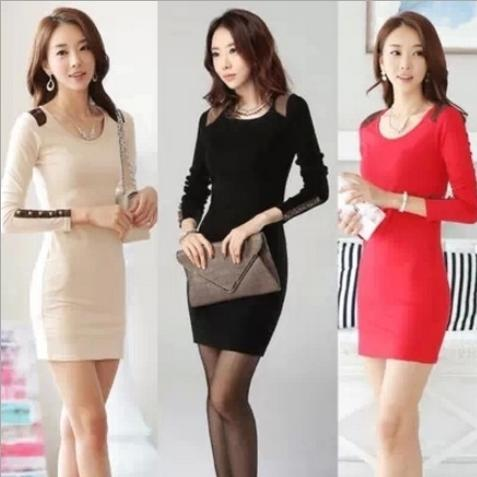OMH Lady fashion red color women's Autumn Spring Cultivate one's morality Package buttocks Long sleeve Big yards Dresses,FZ01(China (Mainland))