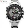 Steel Porbeagle SHARK Sport Watch Dual Time Analog Digital LCD Date Alarm Stop Stainless Steel Black