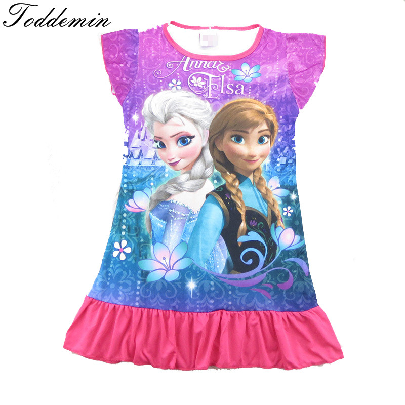 Girls nightgowns elsa anna night gown for kids girls sleepwear cartoon cute summer long girls night dress kids pajamas(China (Mainland))