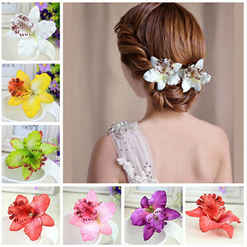 New Bohemia Style Orchid Peony Flowers Hair Clips Hairpins for Women Hair Accessories for Beach 6 colors