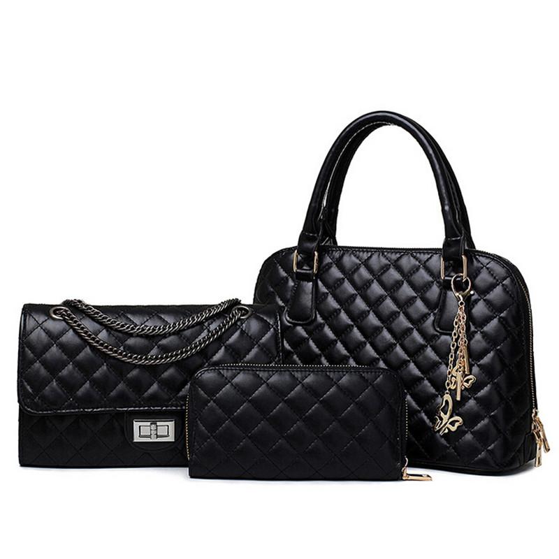Brand Design Vintage Womens High Quality PU Leather Handbag Tote Zipper Shoulder Bags Messenger Bag Bolsas 3sets - Black Golden<br><br>Aliexpress