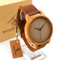 2016 Men s Bamboo Wooden Wristwatches With Genuine Cowhide Leather Band Luxury Wood Watches for Men