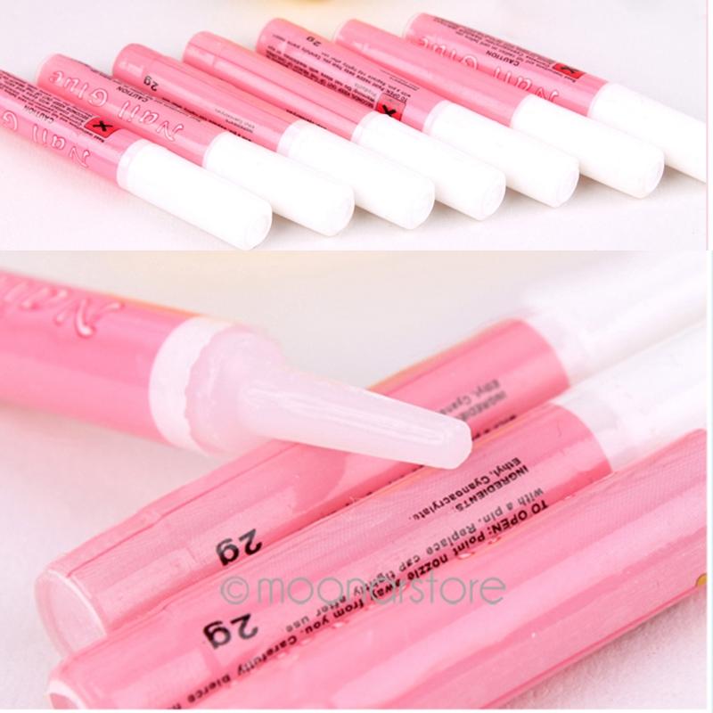 Women Nail Art Accessories Professional nail tools Acrylic Glue Decorate Tips Pink Nail False Nail Art Glue(China (Mainland))