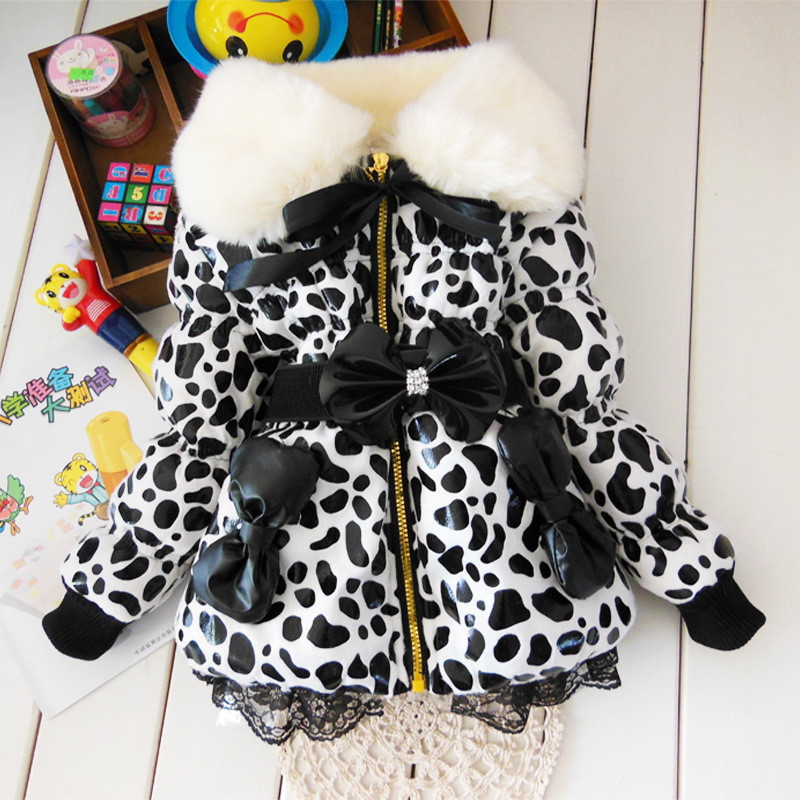 2016 baby parkas Leopard Faux Fur Collar Coat Girls Children UP leather Winter warm snowsuit christmas Outerwear down Jacket(China (Mainland))