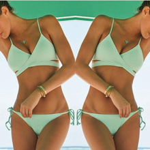 2015 Hot sale Criss Cross Bandage Bikini Set Sexy Push Up Swimwear Women Swimsuit Biquinis Brazilian Padded Bra Bathing Suits