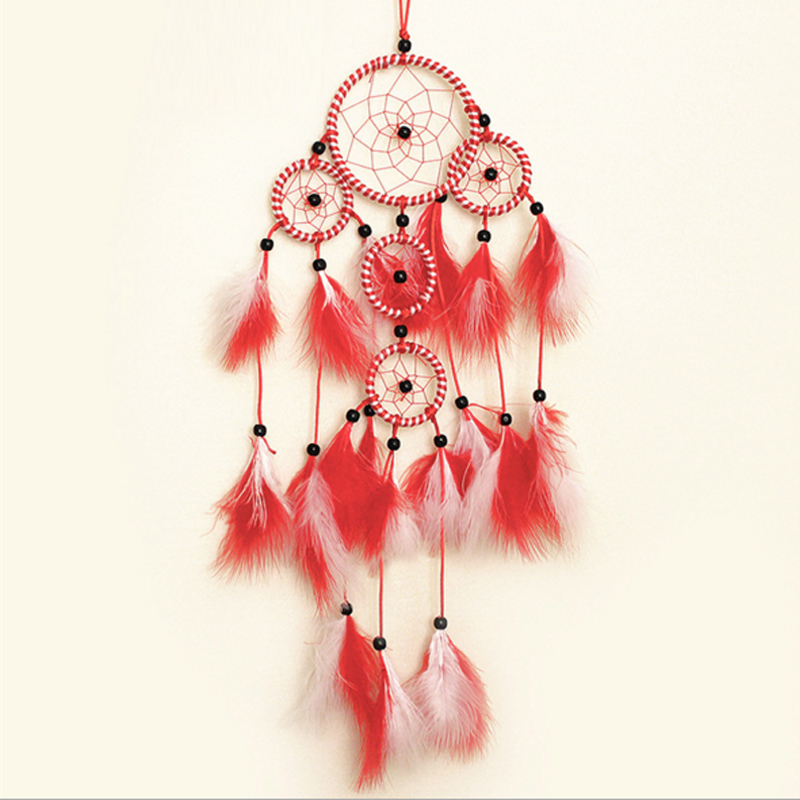 Beautiful Dream Catcher Hand-Woven Dream Catcher With Red White Feathers For Home Wall Decorations Car Is Hanged Adorn(China (Mainland))