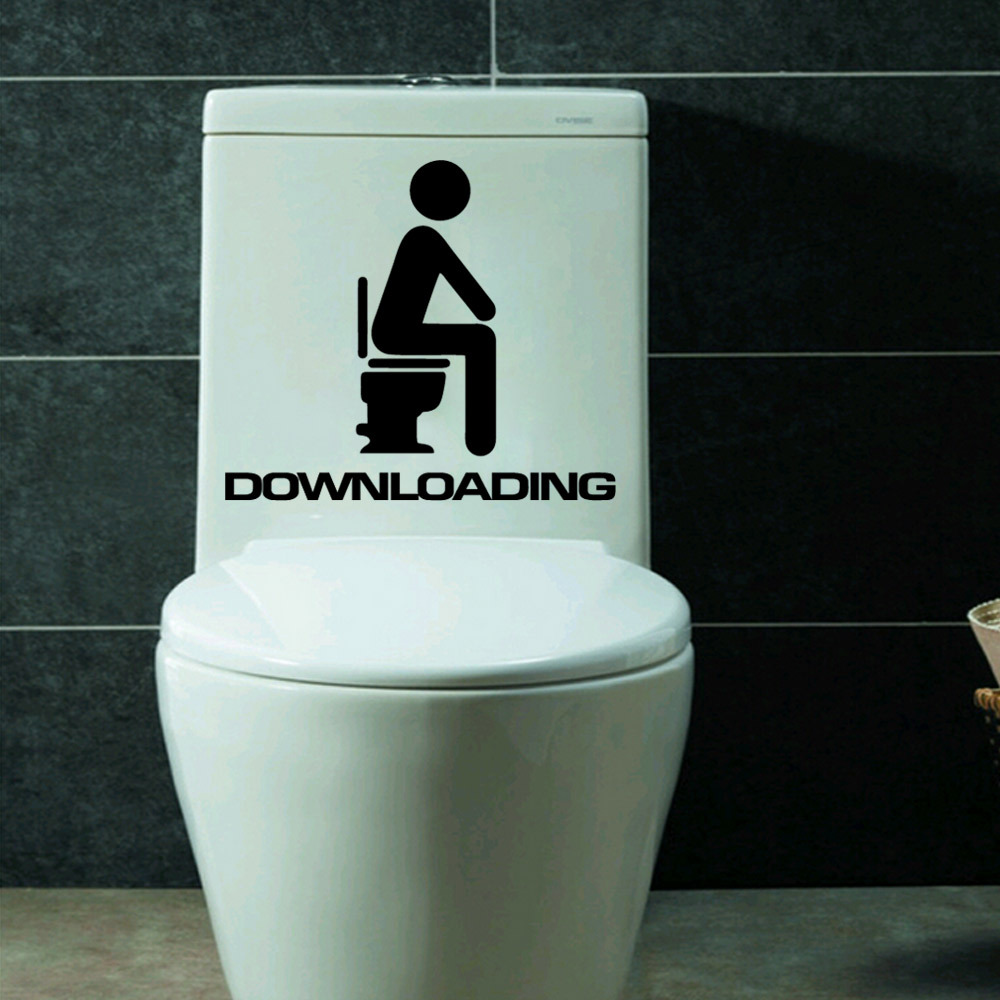 2015 downloading funny toilet door stickers bathroom decoration stickers vinyl wall stickers - Decor wc ...
