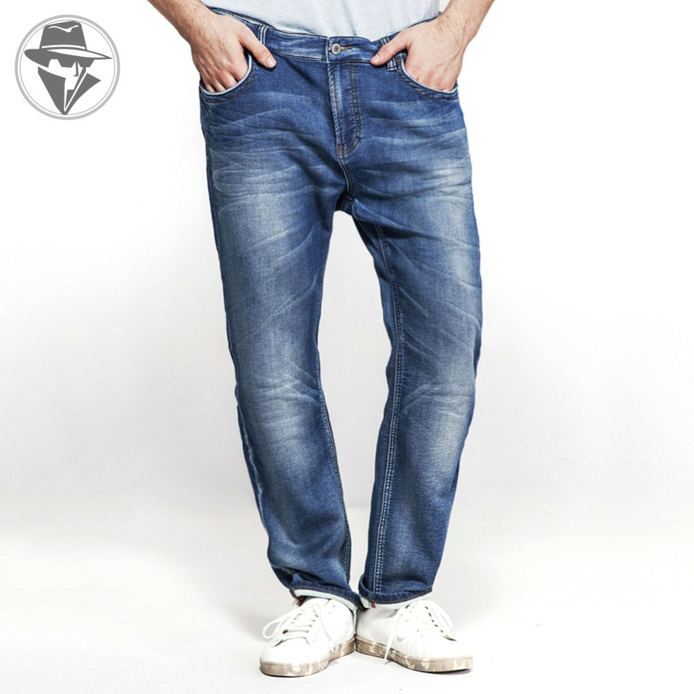 Leepen Modern Plus Size 36-52 Men's Jeans Big & Tall Slim Fit Whiteout Knitted Robin Denim Men LP1026