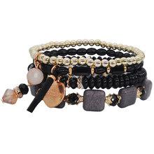 Yumfeel Brand New Fashion koraliki do biżuterii bransoletka ręcznie wielowarstwowy akrylowy żywica szkło kryształowe bransoletka z paciorkami kobiet prezenty(China)