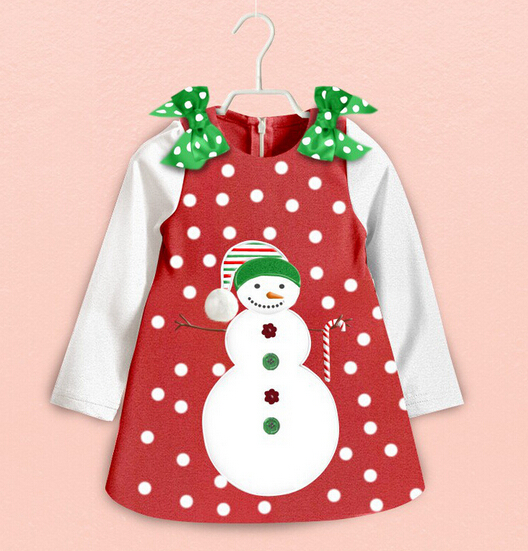 0-5T/spring autumn 2015 baby dresses girl christmas kids clothes Bow Snowman cartoon infant party dress children clothing BC1358(China (Mainland))
