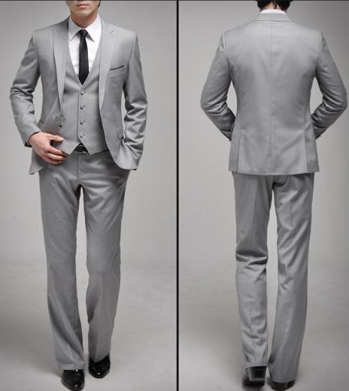 New Arrival Light Grey Groom Tuxedos One Button Side Slit Slim Fit Groomsmen Men Wedding/Dinner/Prom/Formal SuitsОдежда и ак�е��уары<br><br><br>Aliexpress
