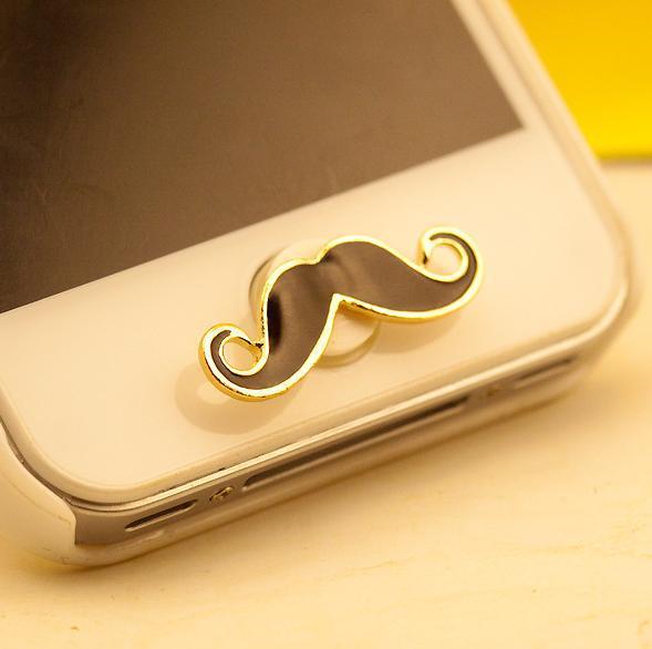 Popular Lovely Cute Cartoon Beard Home Button Sticker Cell Phone Keys Sticker for Phone SP080