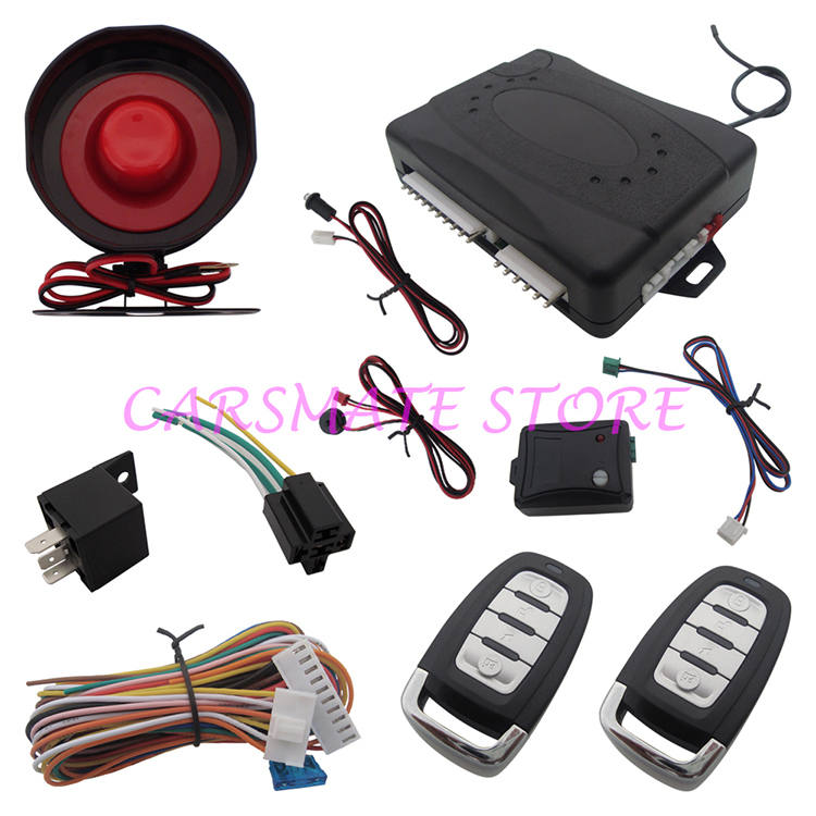 1 Way Car Alarm System One Way Car Alarm System Remote Trunk Release Anti-Robbery Car Alarm With Shock Sensor & Override Switch(China (Mainland))