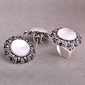 Vintage White Opal Women Jewelry Sets Antique Silver Plated Black Crystal Wide Rings Round Stud Earring