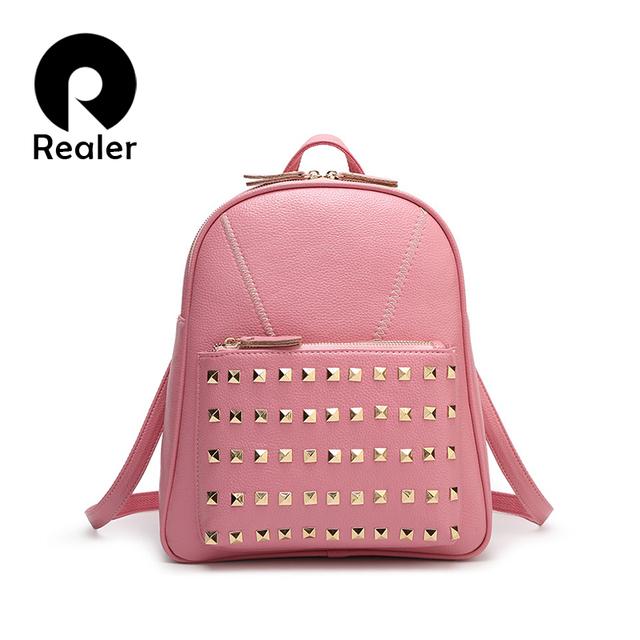 2016 весенний модный розовый рюкзак, женская сумка через плечо, черный рюкзак с заклепками, ...