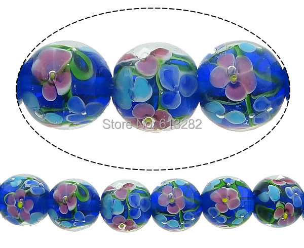 Free shipping!!!Handmade Lampwork Beads,Personality, Round, 14mm, Hole:Approx 2mm, Length:10 Inch, 10Strands/Lot, Sold By Lot