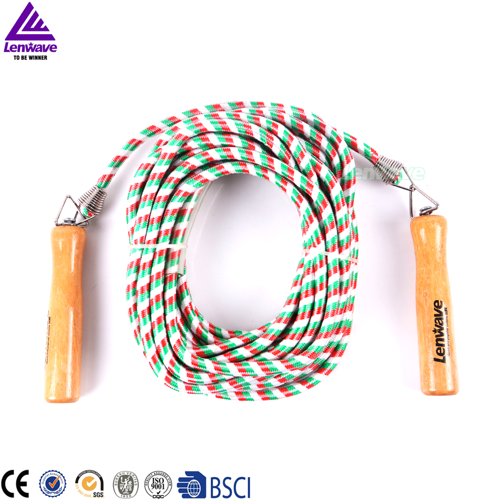 Lenwave Brand Wooden Grip Skipping Rope Outdoor Sports 10m Collective Fitness Equipment Crossfit Jump Rope(China (Mainland))