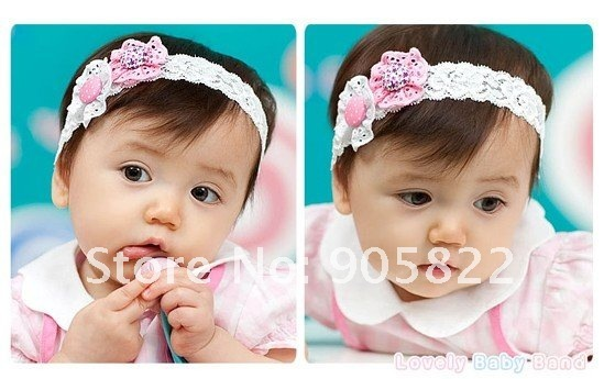 Free shipping+50pcs/lot,Button flower cotton  BABY Headband/hairband