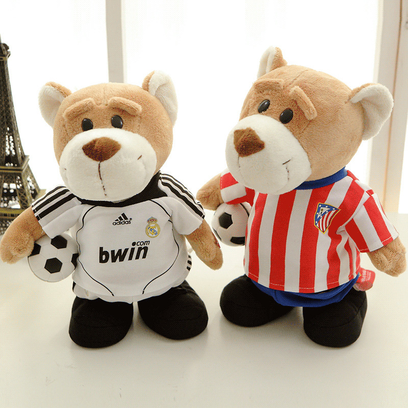 30cm Lovely Teddy Bear With Jerseys Soft Stuffed Plush Animal Toys Electric with music will walk Basketball Toys For Kids Gift(China (Mainland))