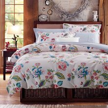 American style 3d bedding set flower bed linen include duvet cover flat sheet pillowcases 4 pieces 100%cotton king/queen size(China (Mainland))